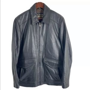 Columbia Black Leather Zip Up Lined Jacket Size M